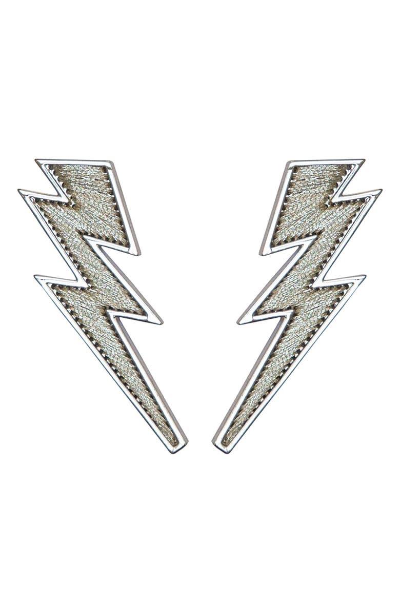 MIGNONNE GAVIGAN Lightning Bolt Earrings, Main, color, SILVER