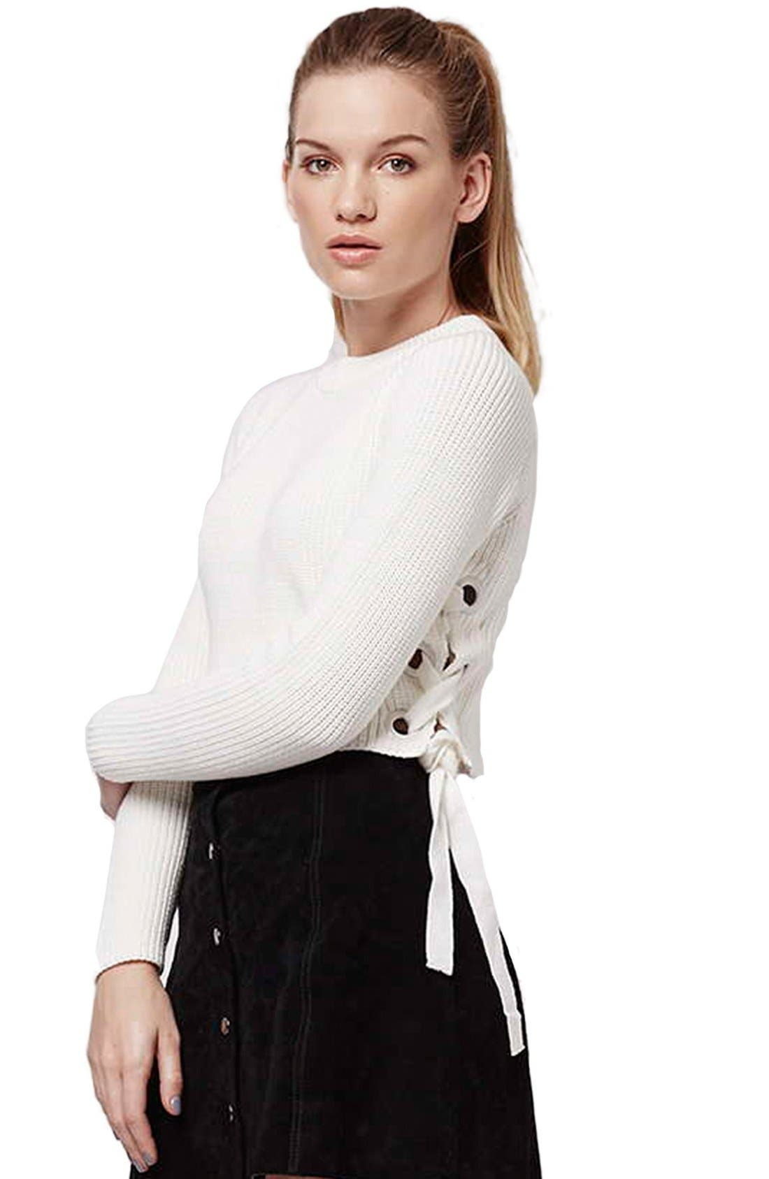 ,                             Side Tie Crop Sweater,                             Alternate thumbnail 11, color,                             900