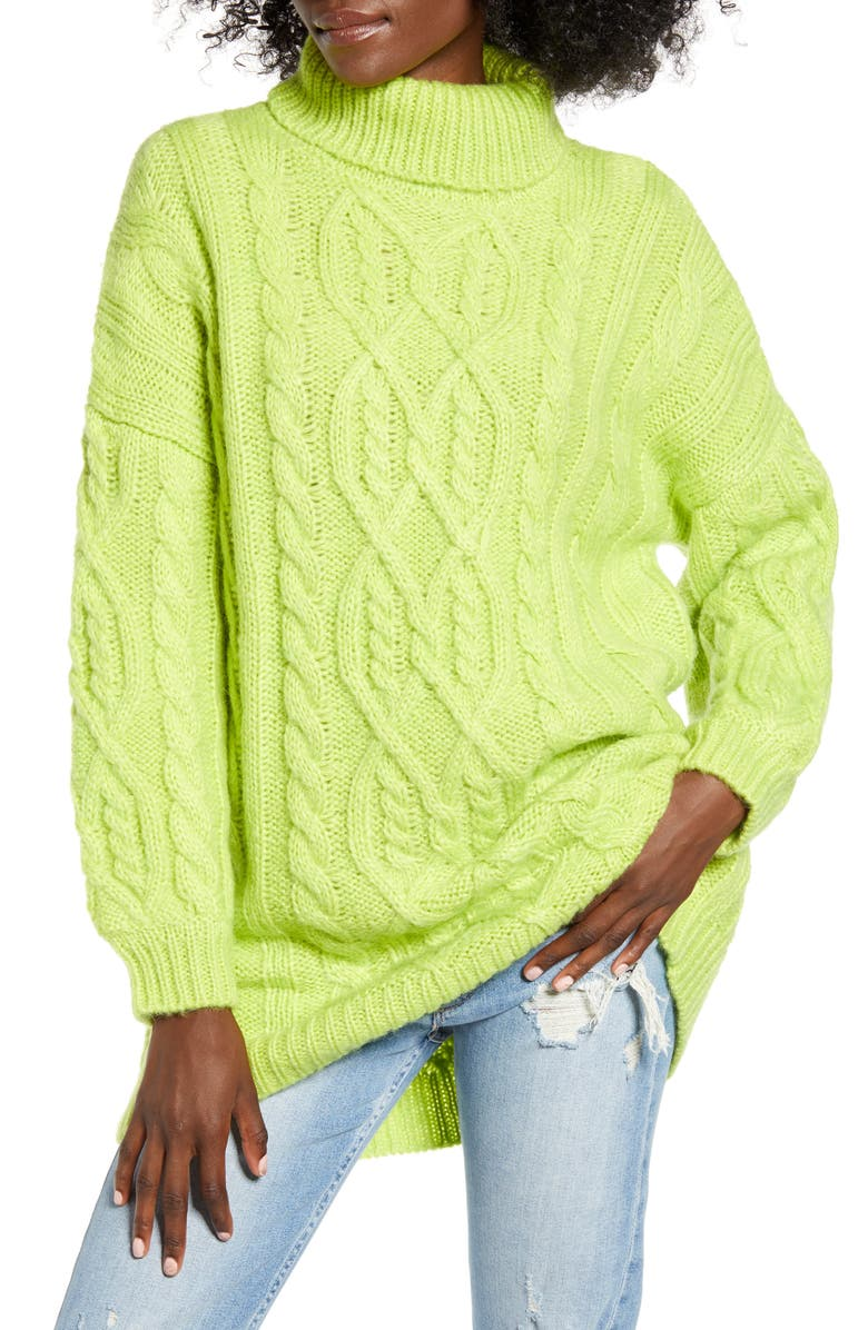 MOON RIVER Oversized Neon Cable Turtleneck Sweater, Main, color, LIME GREEN
