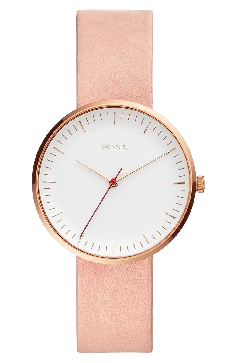 FOSSIL Essentialist Leather Strap Watch, 38mm, Main, color, BLUSH/ WHITE/ ROSE GOLD