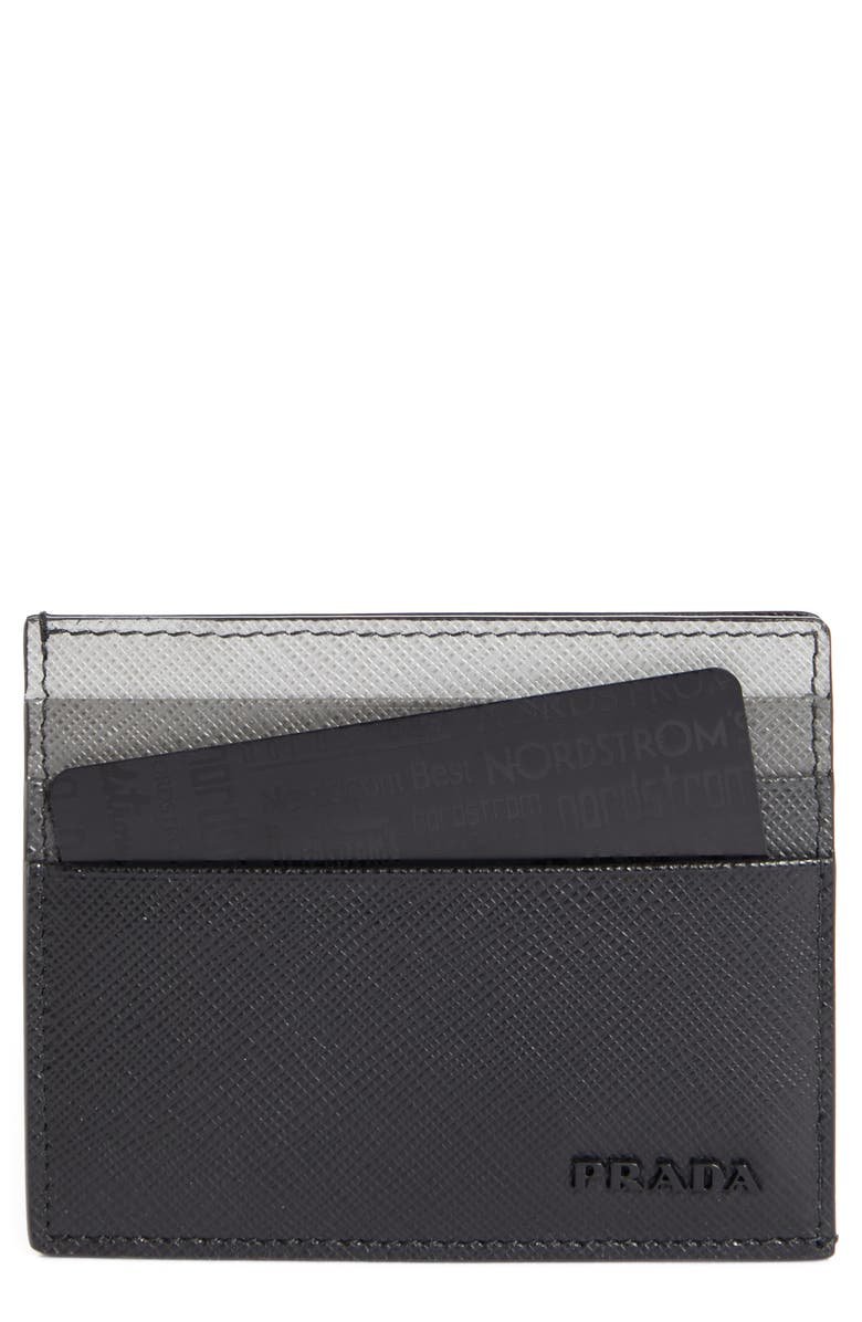 PRADA Multicolor Saffiano Leather Card Case, Main, color, 001