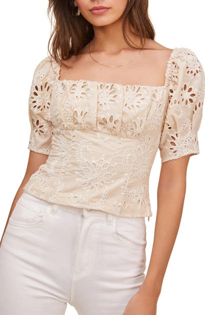 Astr BONDI EYELET CROP TOP