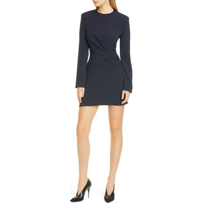 Stella Mccartney Gathered Waist Long Sleeve Cady Minidress, 4 IT - Blue