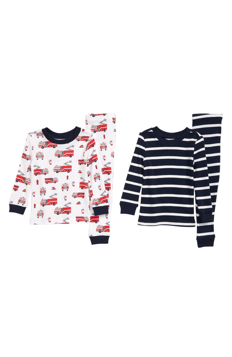 LITTLE ME Rescue 2-Pack Fitted Two-Piece Pajamas, Main, color, GREY HEATHER