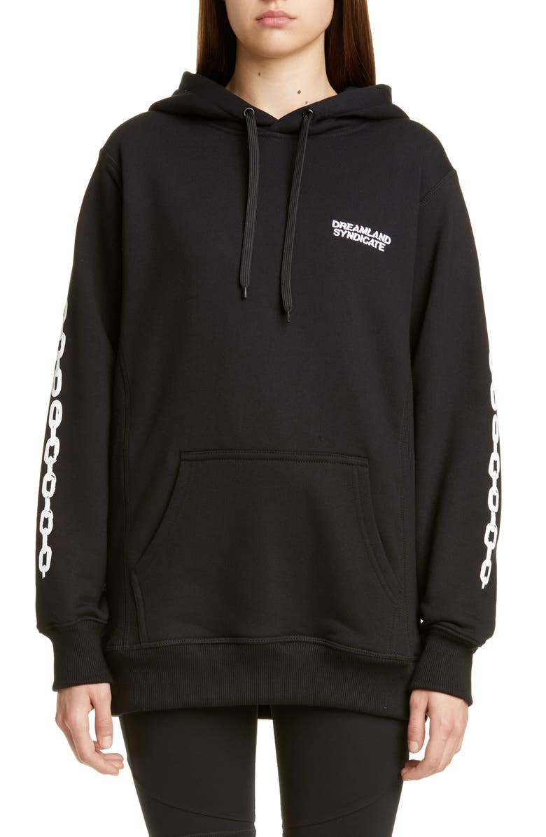 DREAMLAND SYNDICATE Chain Print Oversize Hoodie, Main, color, BLACK