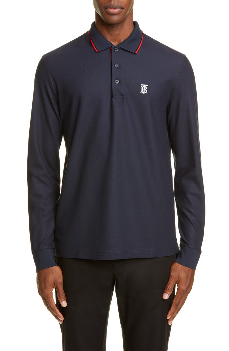 BURBERRY Embroidered Monogram Long Sleeve Piqué Polo, Main, color, BLUE