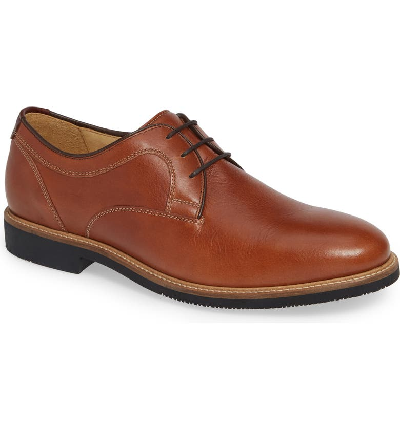 JOHNSTON & MURPHY Barlow Plain Toe Derby, Main, color, DARK TAN LEATHER