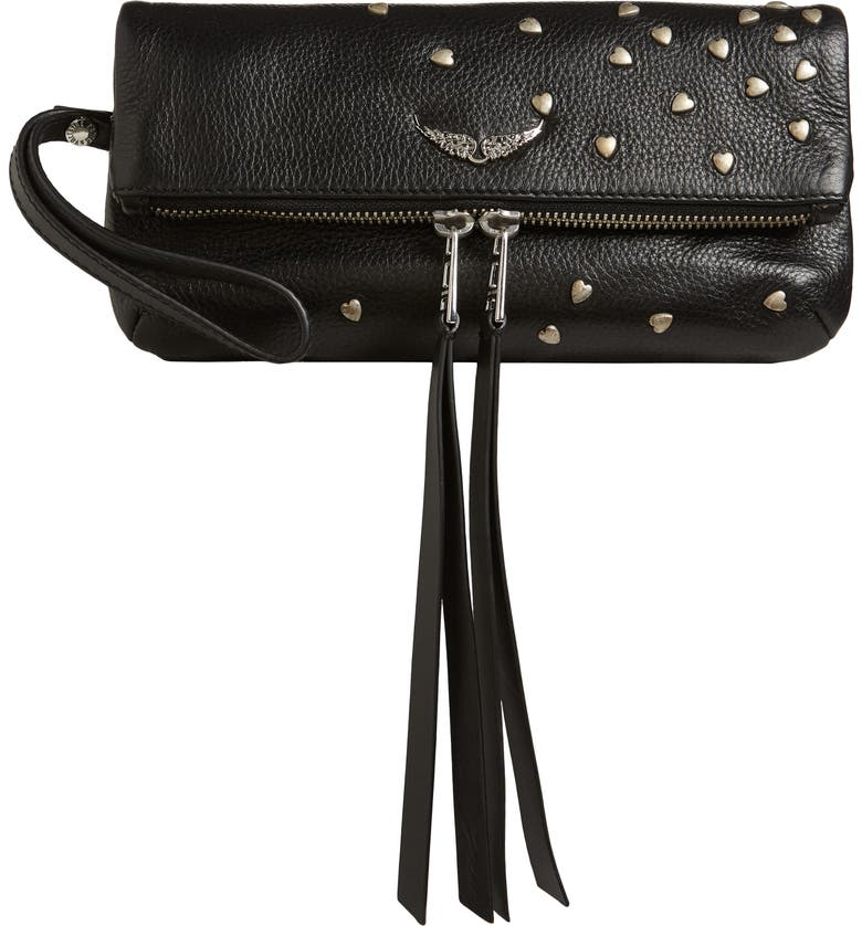 ZADIG & VOLTAIRE Rocky Heart Stud Leather Clutch, Main, color, 001