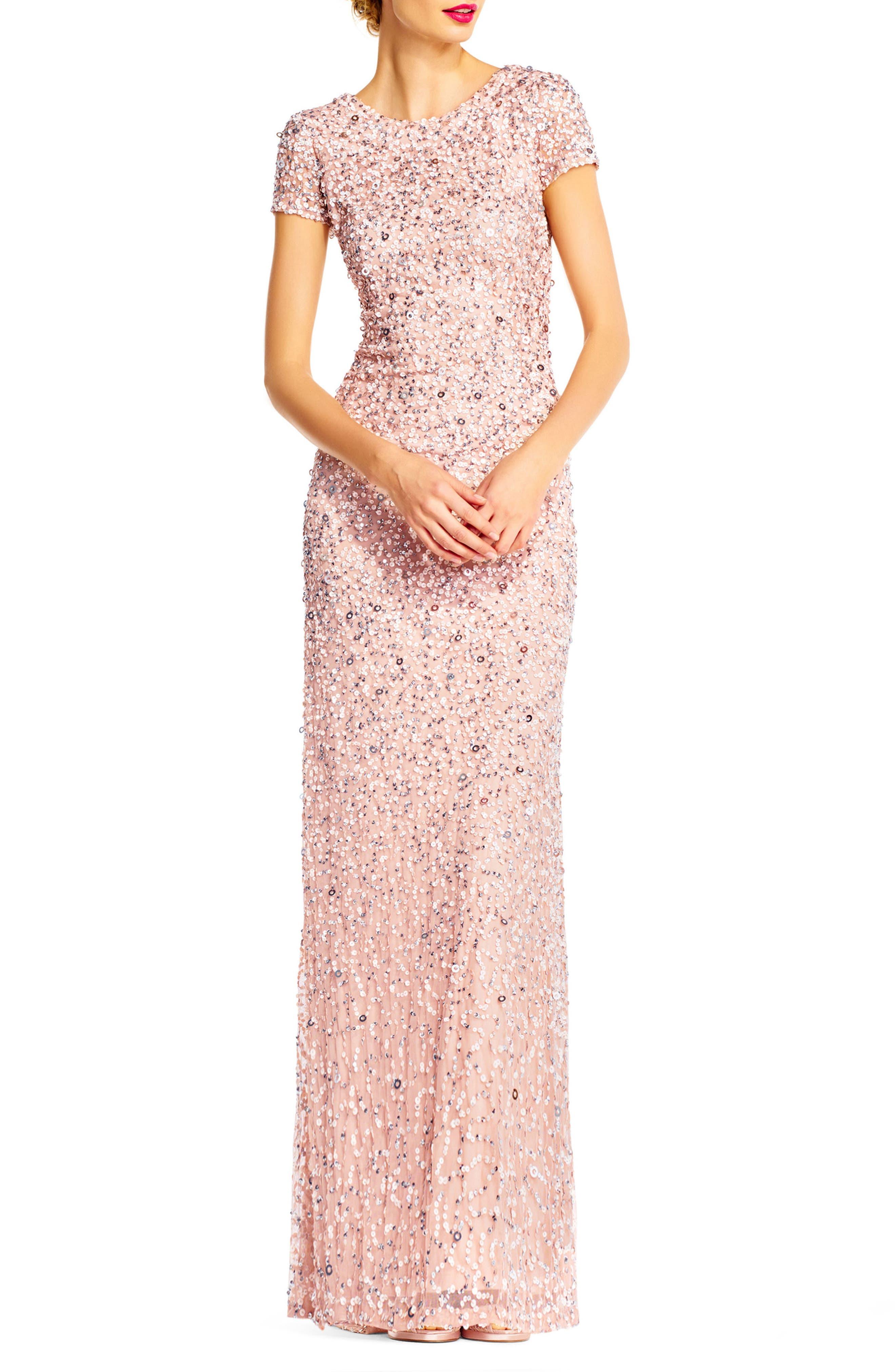 ,                             Short Sleeve Sequin Mesh Gown,                             Main thumbnail 15, color,                             250