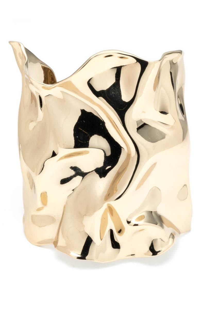 ALEXIS BITTAR Crumpled Wide Cuff, Main, color, GOLD