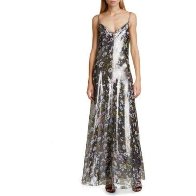 Ganni Floral Print Metallic Silk Maxi Dress, US / 4 - Black