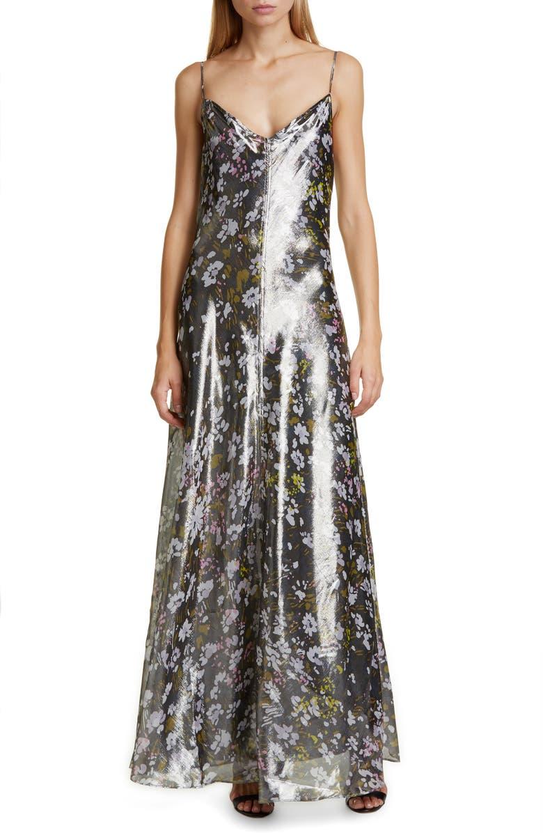 GANNI Floral Print Metallic Silk Maxi Dress, Main, color, BLACK