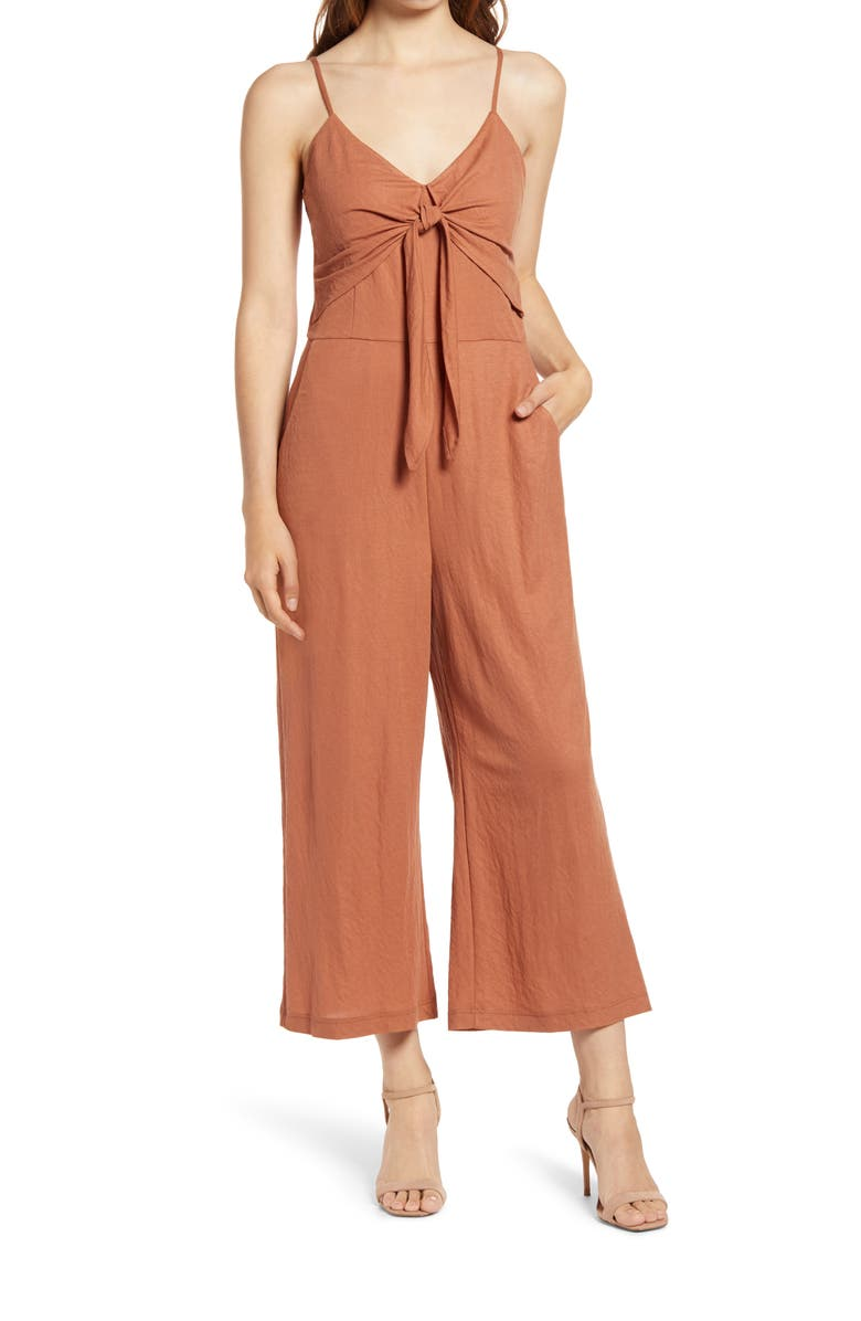 CHELSEA28 Sleeveless Tie Front Jumpsuit, Main, color, RUST UMBER