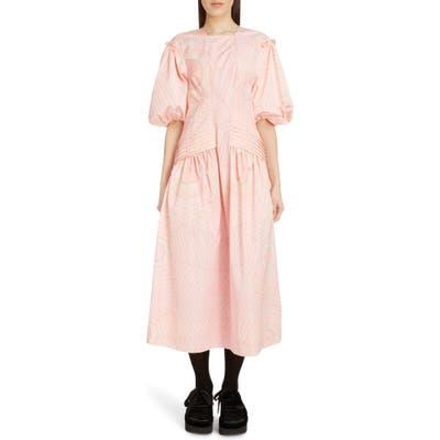 Simone Rocha Pintuck Pleat Print Taffeta Midi Dress, US / 6 UK - Pink