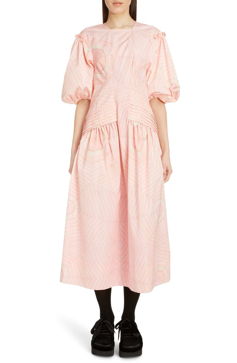 SIMONE ROCHA Pintuck Pleat Print Taffeta Midi Dress, Main, color, PINK WEB