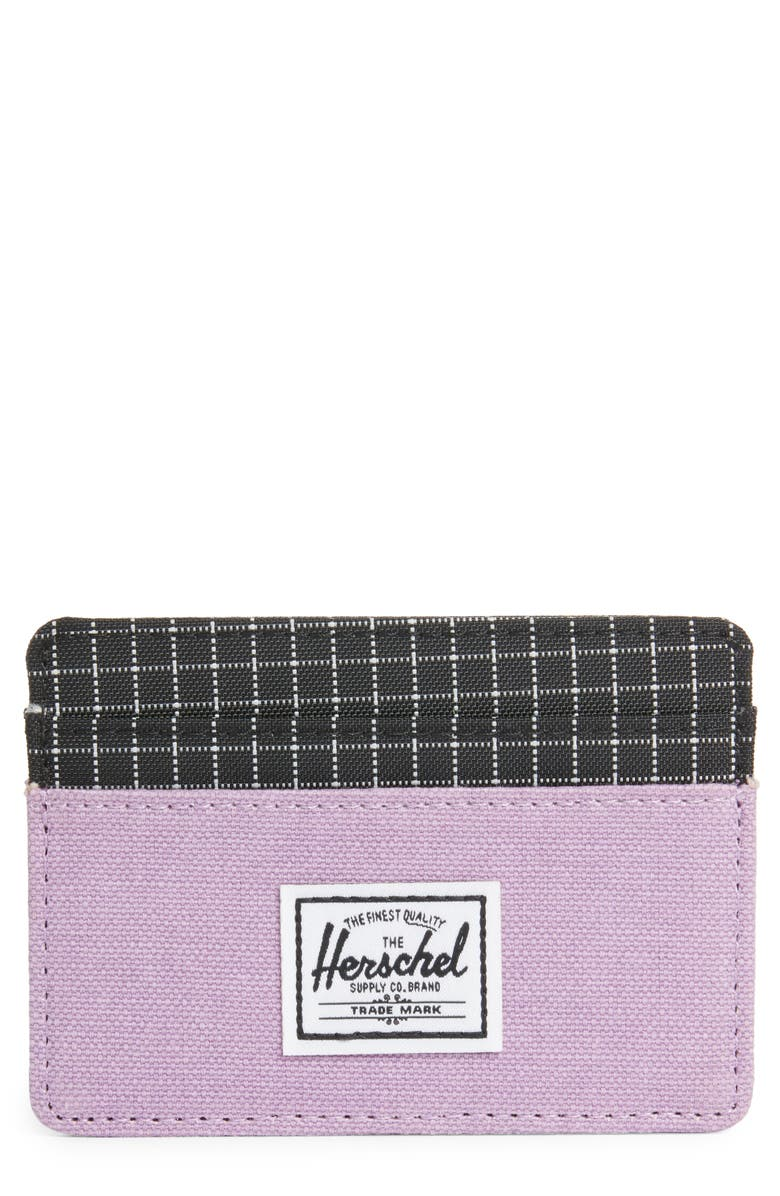 HERSCHEL SUPPLY CO. Charlie Card Case, Main, color, REGAL ORCHID/ BLACK