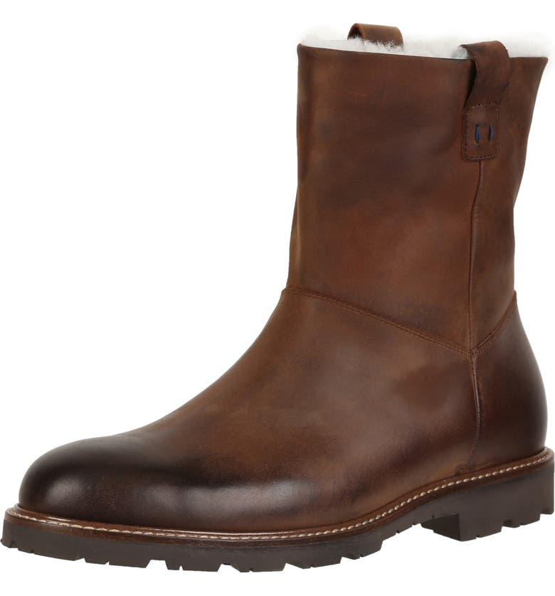 ROSS & SNOW Kenneth Boot with Genuine Shearling, Main, color, BROWN