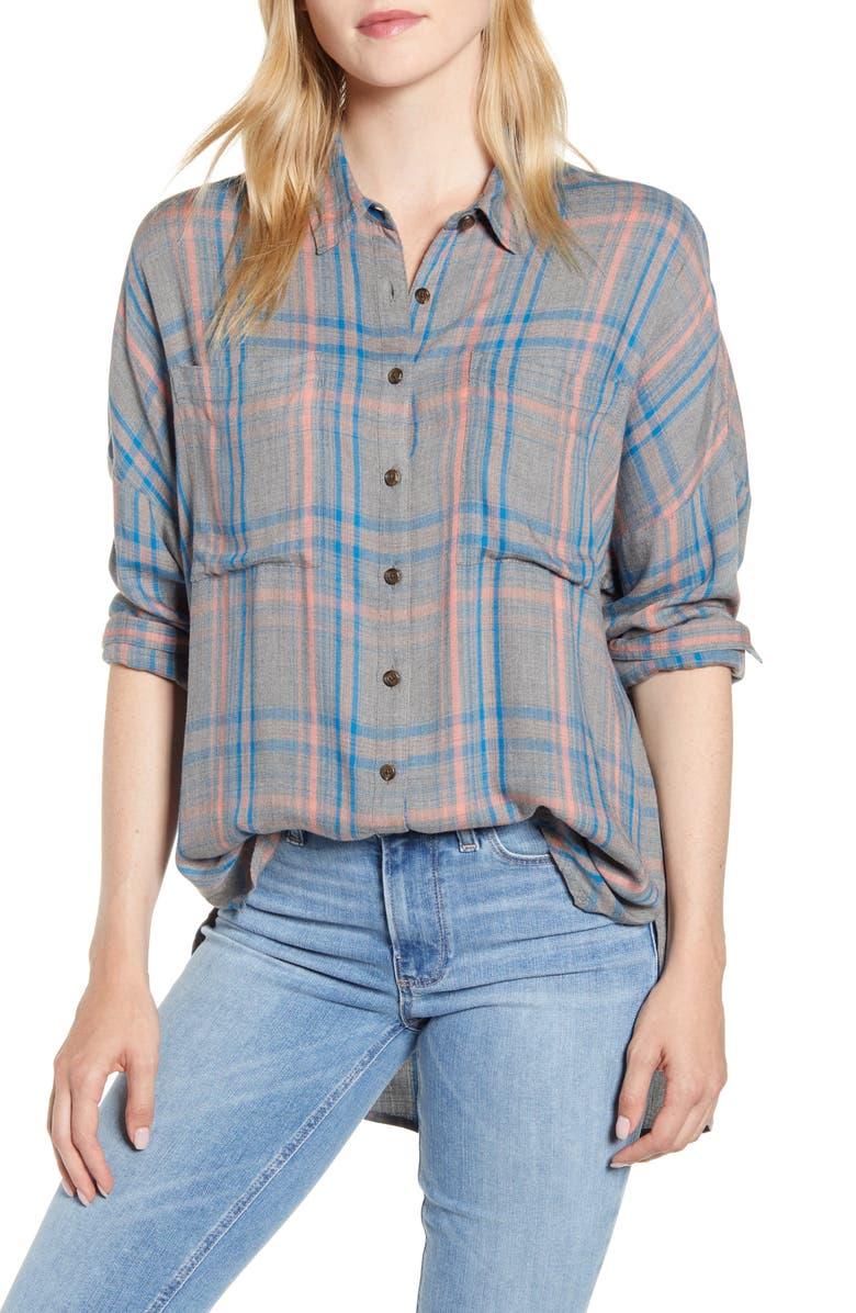 LOU & GREY Victoria Button Front Plaid Shirt, Main, color, GREY MULTI