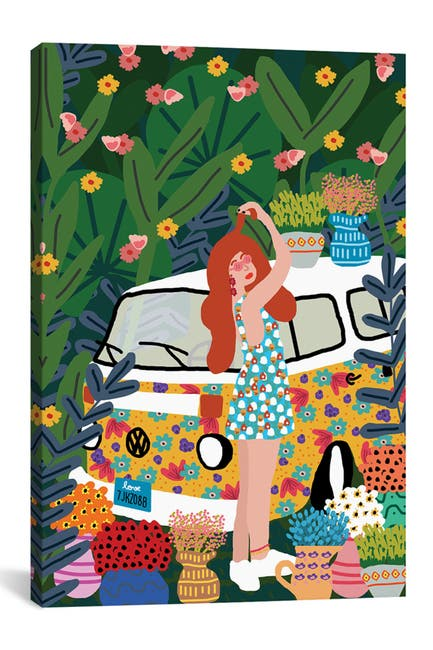 Image of iCanvas Flowers And A Kombi by Studio Grand-P    re