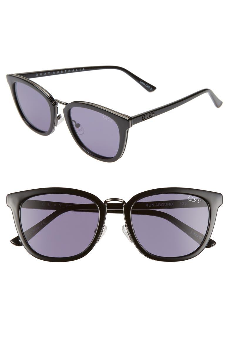 QUAY AUSTRALIA Run Around 53mm Cat Eye Sunglasses, Main, color, BLACK/ SMOKE