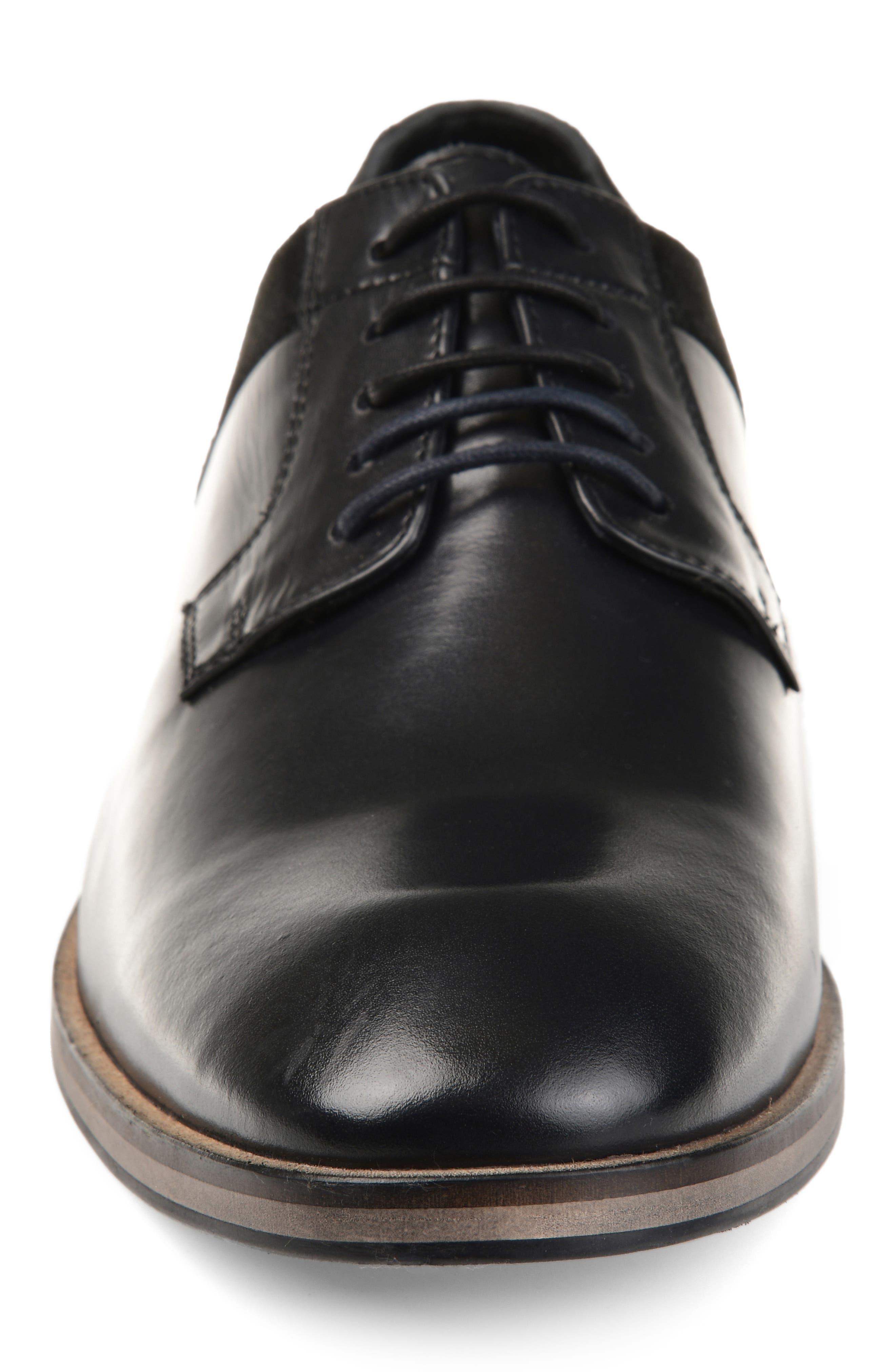 ,                             Jaxon Plain Toe Derby,                             Alternate thumbnail 4, color,                             BLACK LEATHER
