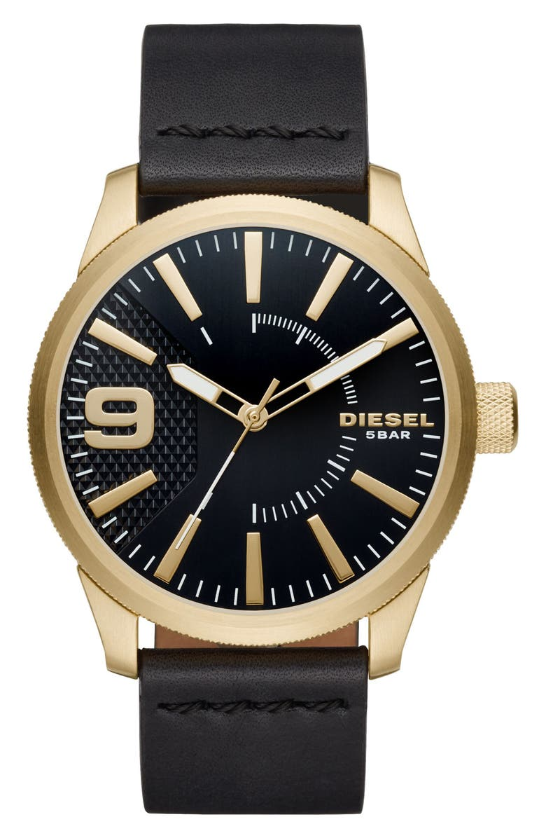 DIESEL<SUP>®</SUP> Rasp Leather Strap Watch, 46mm, Main, color, 001