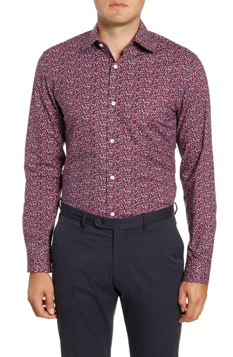 BONOBOS Slim Fit Stretch Dress Shirt, Main, color, ABSTRACT PEBBLES - CHERRY COLA