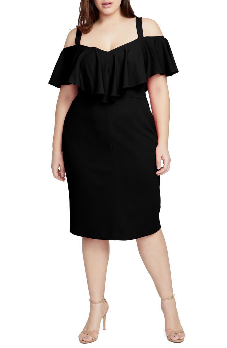 RACHEL RACHEL ROY Cold Shoulder Scuba Dress, Main, color, BLACK