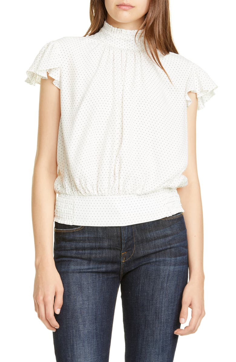 FRAME Ruffle Smocked Silk Top, Main, color, OFF WHITE MULTI