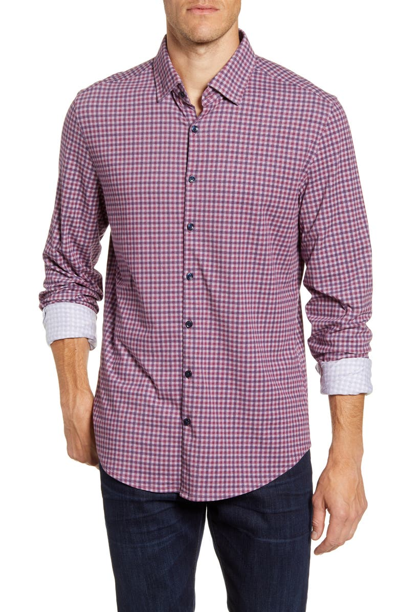STONE ROSE Regular Fit Check Button-Up Performance Shirt, Main, color, BERRY