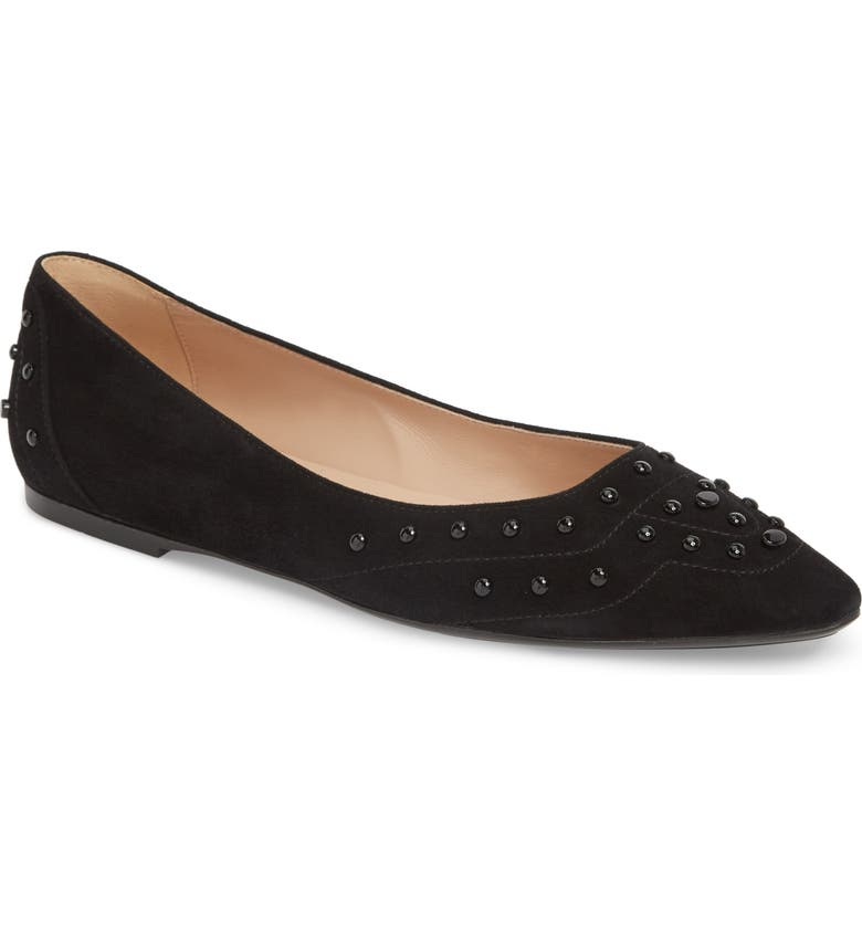 TOD'S Gommini Studded Ballet Flat, Main, color, BLACK SUEDE