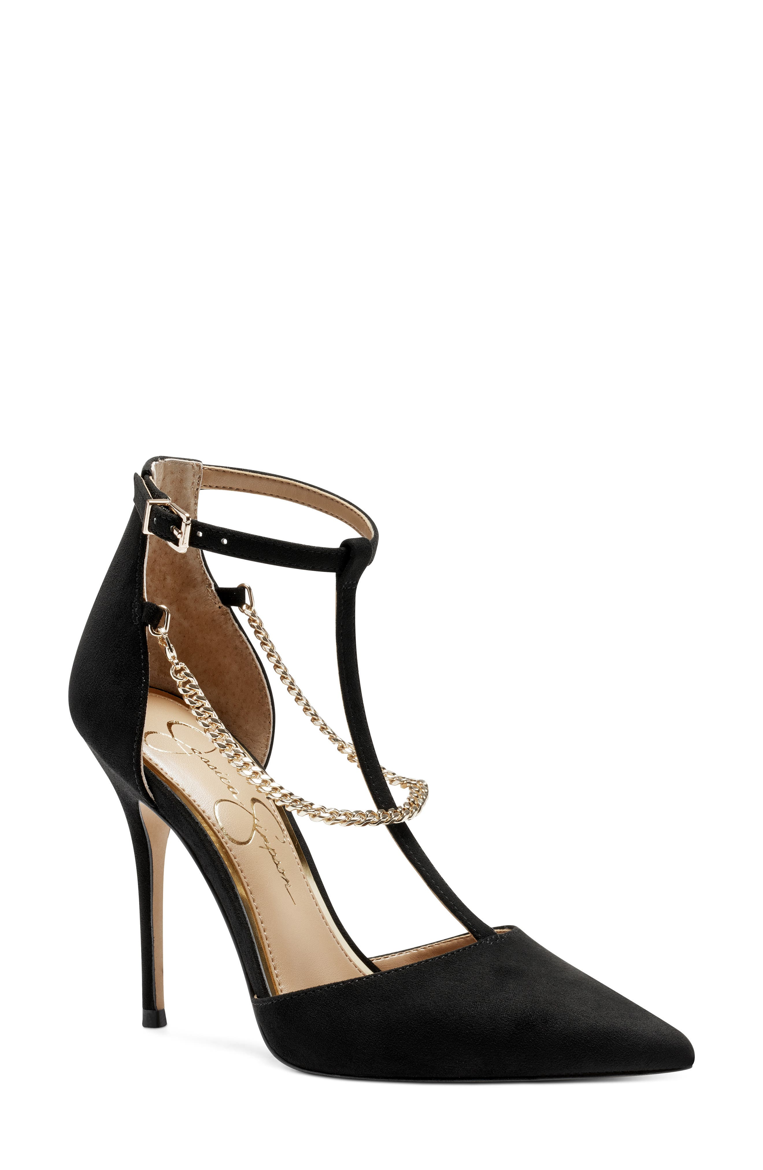 Gleaming chains add a bit of edge to a pointy-toe pump topped with a slender ankle strap. Style Name: Jessica Simpson Wintelle Ankle Strap Pump (Women). Style Number: 6101944. Available in stores.