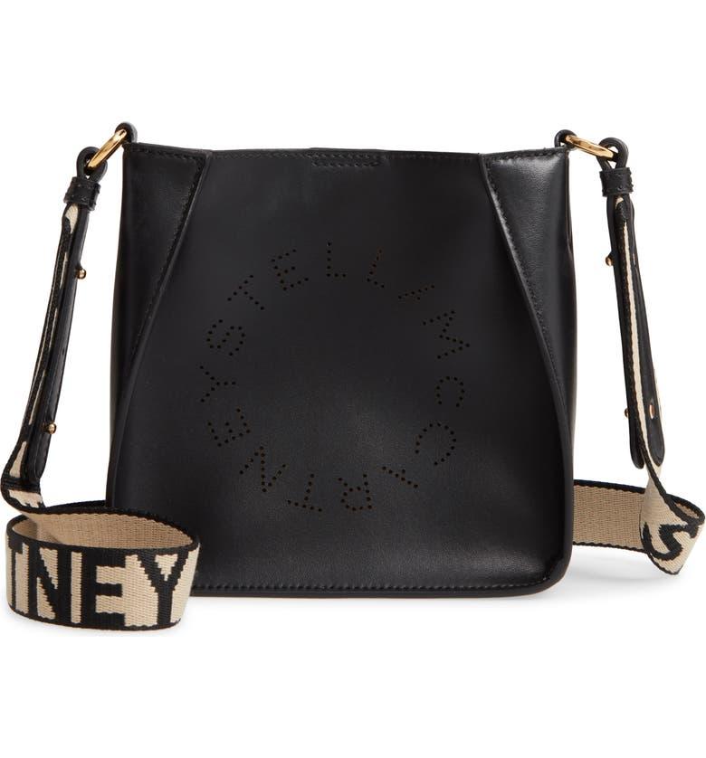 STELLA MCCARTNEY Logo Alter Nappa Faux Leather Crossbody Bag, Main, color, BLACK