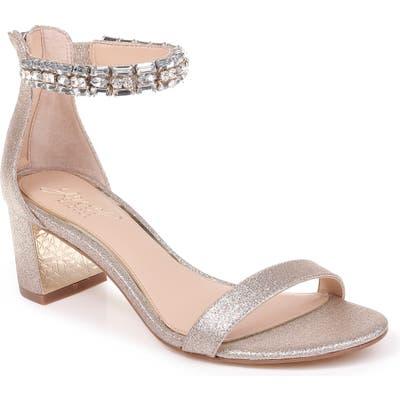 Jewel Badgley Mischka Katerina Ankle Strap Sandal, Metallic