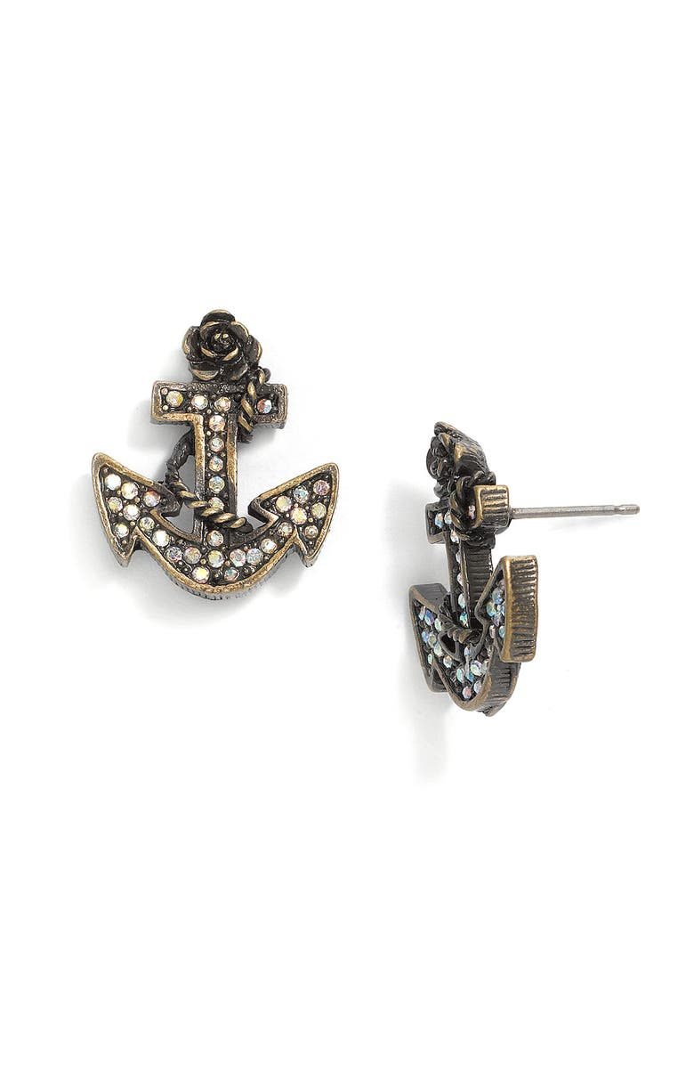 BETSEY JOHNSON 'In the Navy' Anchor Stud Earrings, Main, color, 960