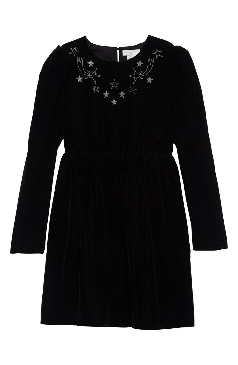 STELLA MCCARTNEY KIDS Star Embroidered Velvet Dress, Main, color, BLACK
