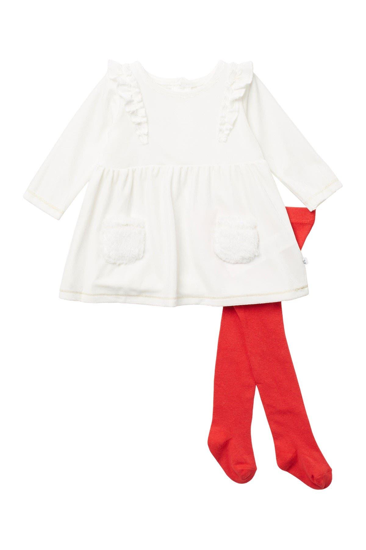 Image of Petit Lem Long Sleeve Faux Fur Pocket Ruffled Dress & Footed Leggings Set