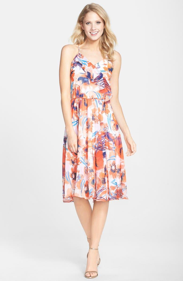 KUT FROM THE KLOTH Print Chiffon Ruffle Midi Dress, Main, color, 847