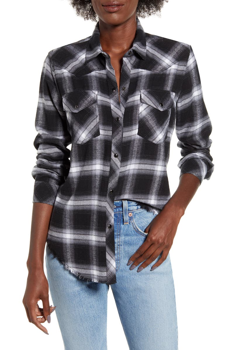 RAILS Jaxton Plaid Frayed Hem Twill Shirt, Main, color, COAL GREY WHITE