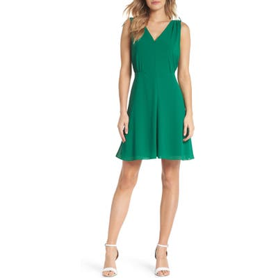 Vince Camuto Souffle V-Neck Chiffon A-Line Dress, Green