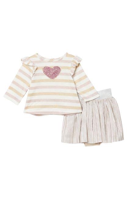 Image of Pippa & Julie Long Sleeve Stripe Heart Top & Metallic Skirt Set