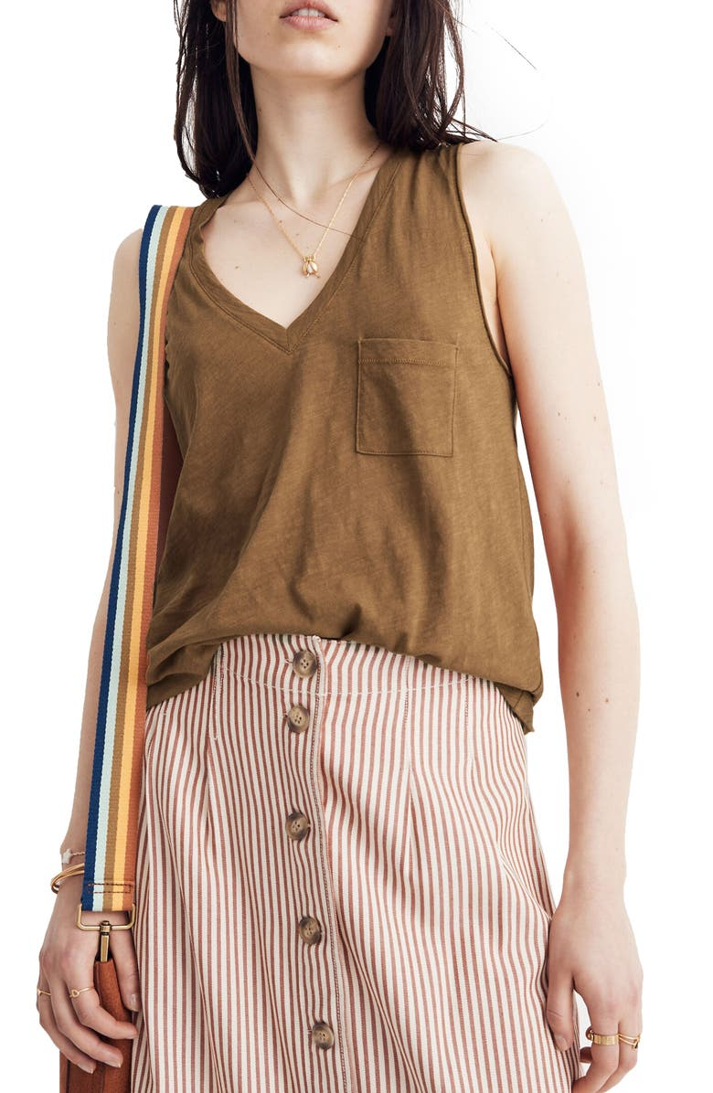 MADEWELL Whisper Cotton V-Neck Tank, Main, color, GOLDEN SPINACH