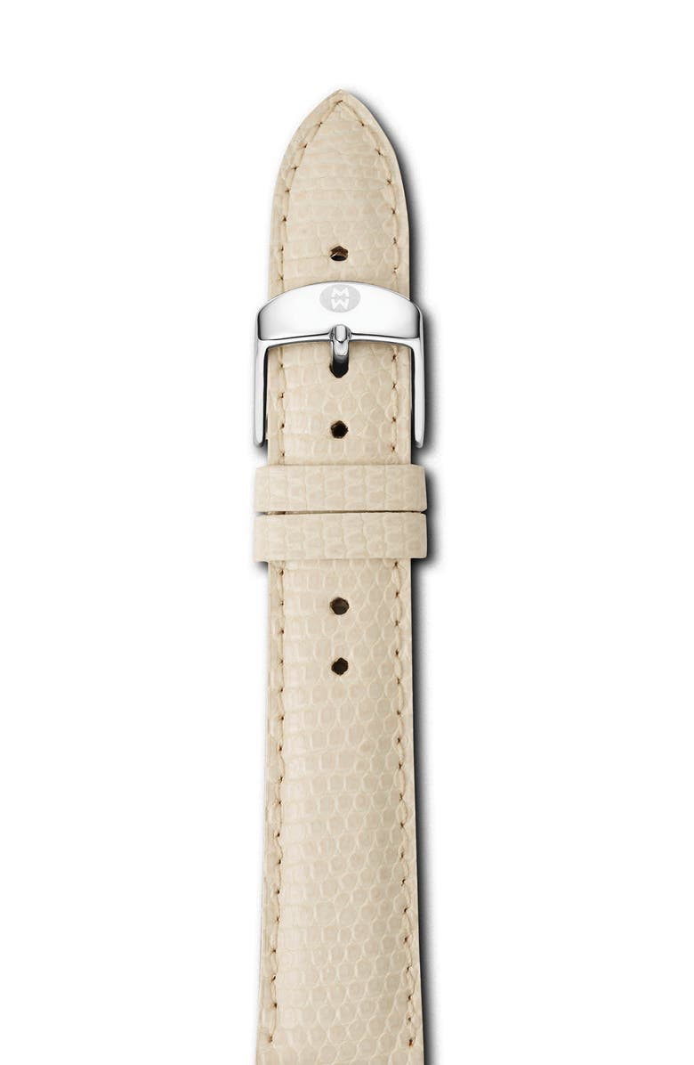 MICHELE 18mm Lizardskin Watch Strap, Main, color, VANILLA