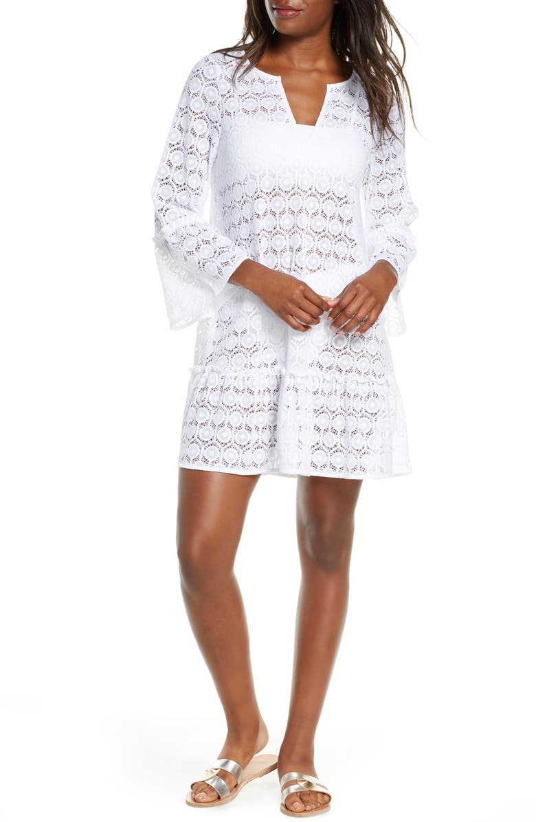 LILLY PULITZER<SUP>®</SUP> Payton Cover-Up Dress, Main, color, WHITE HONEYCOMB DOT LACE