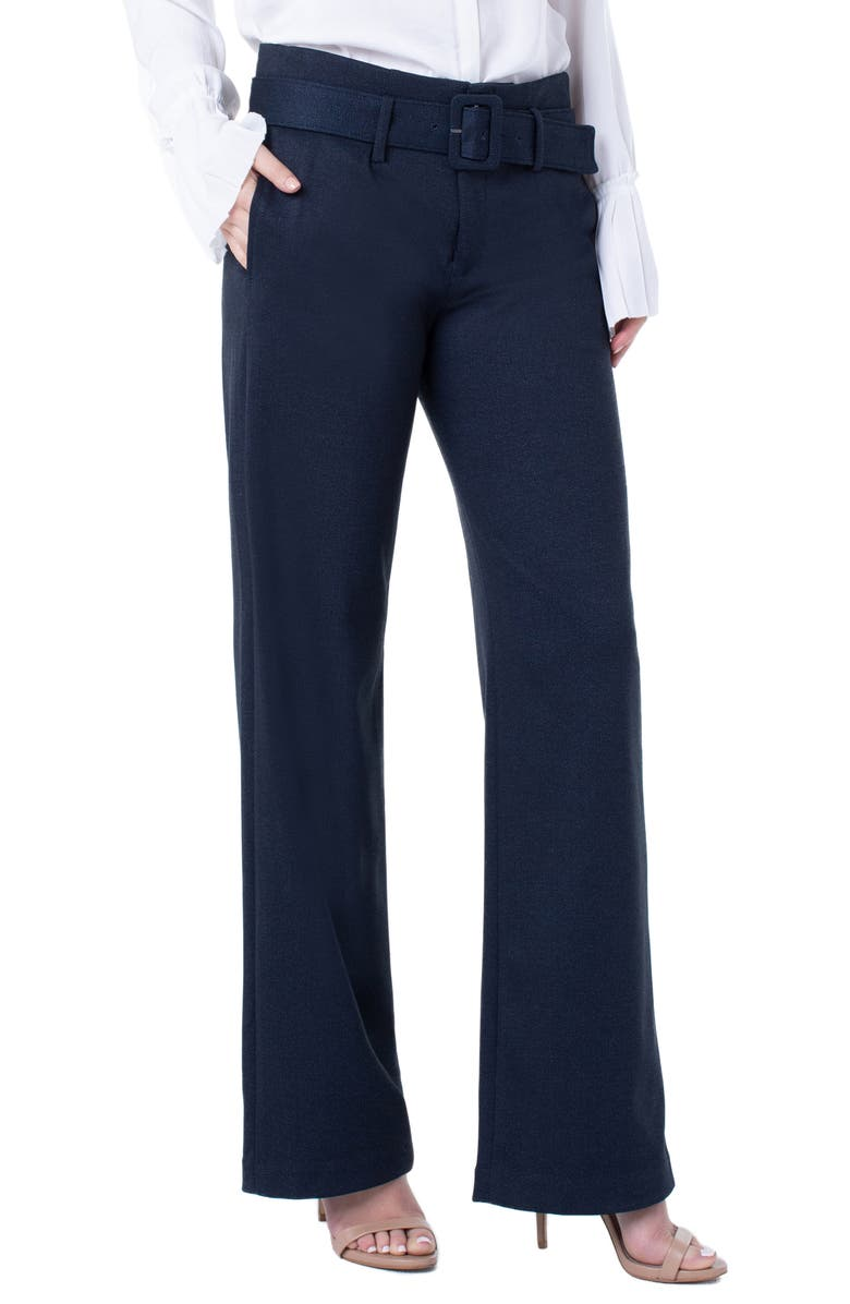 LIVERPOOL Taylor Belted High Waist Pants, Main, color, NAVY/ GREY