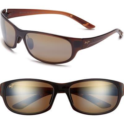 Maui Jim Twin Falls 6m Polarized Gradient Mirrored Oversize Wraparound Sunglasses - Rootbeer Fade/ Bronze