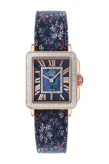 Image of Gevril Women's GV2 Padova Diamond Leather Strap Watch, 27mm x 30mm - 0.014 ctw