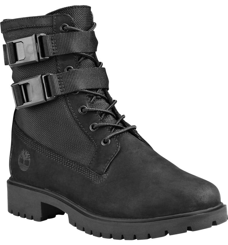 TIMBERLAND Jayne Double Buckle Waterproof Boot, Main, color, BLACK NUBUCK LEATHER