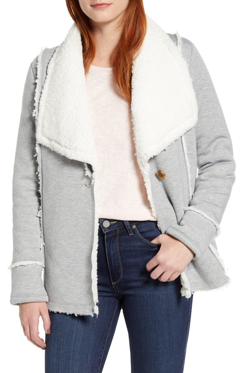 CASLON<SUP>®</SUP> Caslon Faux Shearling Lined Knit Jacket, Main, color, GREY