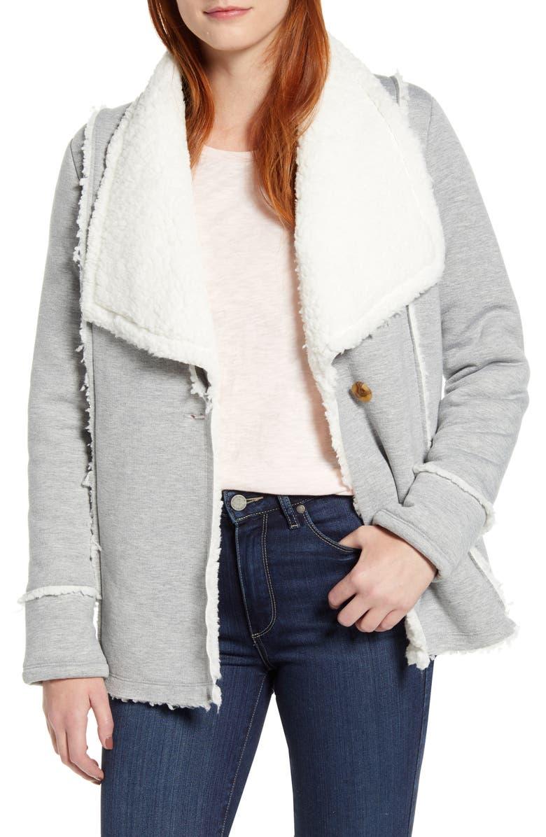 CASLON<SUP>®</SUP> Caslon Fleece Lined Knit Jacket, Main, color, 030